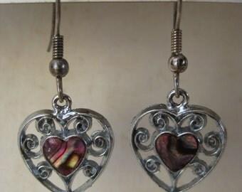Heart Filigree Earrings Pierced Wire Pink Dangle Vintage