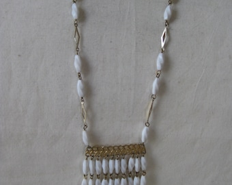 White Gold Dangle Necklace Plastic Hong Kong Vintage