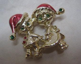 Boy Girl Christmas Rhinestone Brooch Red Green Gold Vintage Pin