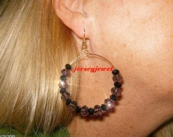 DRAMA  sparkly purple and black crystal  hoop earrings