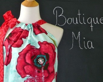 Pillowcase DRESS or TOP - Laura Gunn - Poppy - Made in ANY Size - Boutique Mia