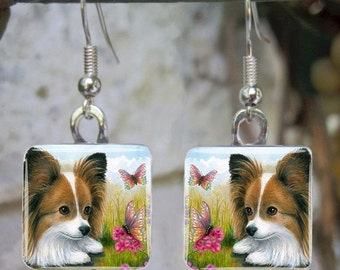 Art Glass Earrings Jewelry square Dog 123 Papillon Butterfly painting by L.Dumas