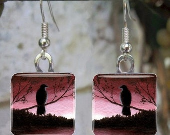 Art Glass Earrings Jewelry square Bird 66 crow raven painting by L.Dumas