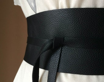 Handmade Black Italian Real Leather Obi Belt - Made to Order