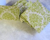 8 Note Cards Blank Mini Cream and Lime Green Damask 3x3 Inch