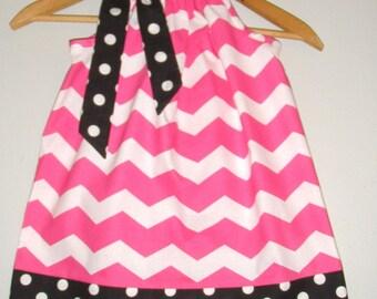 pillowcase dress   pink chevron dress sizes 3,6,9,12,18 months , 2t, 3t, 4t, 5t, 6, 7, 8 10, 12