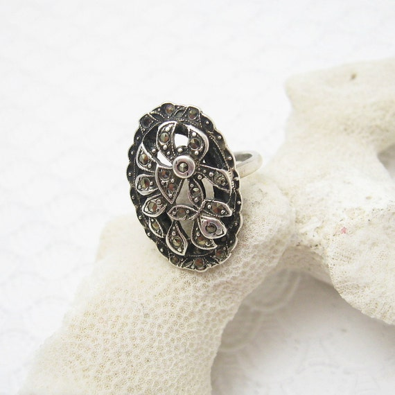 deco sterling marcasite ring antique jewelry r6054