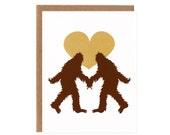 Sasquatch in Love -- Screenprinted Card