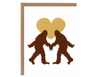 Sasquatch in Love -- Screenprinted Card