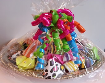 Paper Fortune Cookie Favors - 25 Neon Animal Print Bling (Wrapped on Tray)