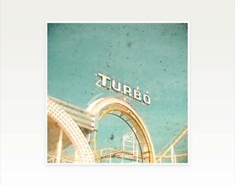 Roller Coaster Art, Nursery Art, Carnival Photography, Summer Decor, Pastel Colors, Blue and Cream, Funfair - Roller Coaster