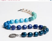 ON SALE Swarovski Pearl Necklace with Crystal and Gunmetal Pave Fireballs Teal Blue Turquoise Mint - Glacial Lagoon