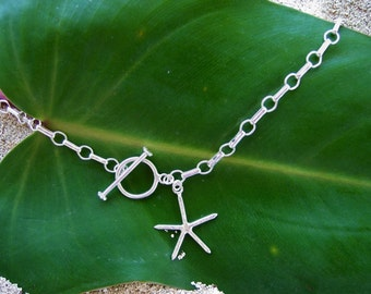 Silver Starfish Charm Necklace, Starfish Choker, Chain Necklace, Sea Star Necklace