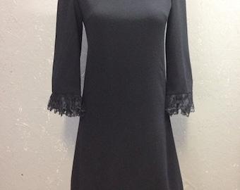 70's black wool dress.
