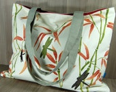 Luxury Shopper - Tote - Shoulder Bag - Dragonflies - Bamboo - Red - Coral - Green - Grey - Natural - Taupe - Large Zip Pocket - Strong