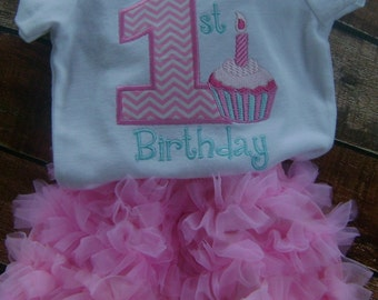 1ST Birthday Bodysuit  and Ruffled Bloomers