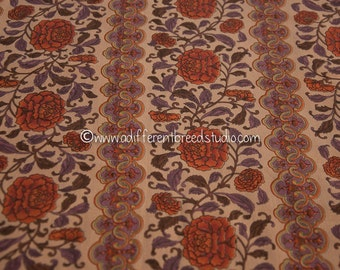 "Fall Floral Stripe - Vintage Fabric 50s 60s New Old Stock Stunning Graphics Purples Oranges 36"" wide"