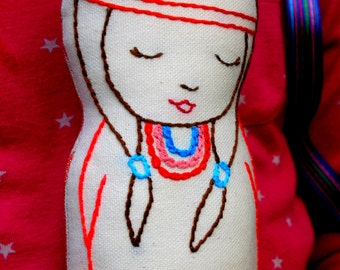 Joy - Native American Inspired Linen doll plush toy, Nursery Deco, Hand embroidered, New baby gift, Girl