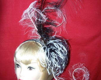 Custom Made White and Black Feather Fascinator Headband By Taissa Lada Designs,Bridal Headpiece,Long Curled White and Black Feathers,Bridal