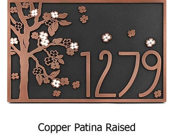 Blossom Tree with Painted Flowers Address Plaque Rectangle Home numbers Sign 18x12 inches Custom for you