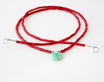 Coral Necklace with Turquoise Magnesite Faceted Teardrop Focal Bead / Coral & Turquoise Necklace / Genuine Coral / Simple Necklace / Dainty
