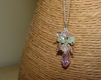 Crystal Cluster Necklace / Pastel / Pastels / Swarovski / Crystals / Pink / Mint Chalcedony / Rose Quartz / Sterling Silver / Gem Cluster