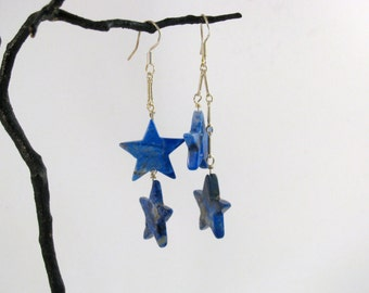 Lapis Lazuli Stars Sterling Earrings RKS462