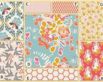 Coral, Aqua, Peach and Gray Crib Baby Bedding Nursery Sweet As Honey