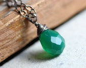 Green Necklace Green Onyx Gemstone Briolette Pendant Antiqued Textured Sterling Silver Chain