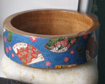 Gorgeous BLUE Upcycled Origami Paper WOOD Bangle Bracelet Orient Fan gift