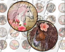 1 inch Circle Collage Sheet Wild Horses Instant Download