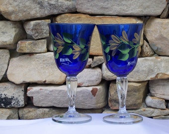 Hand Painted Elegant Blue Cobalt Fluted Glassware with Gold Daisies