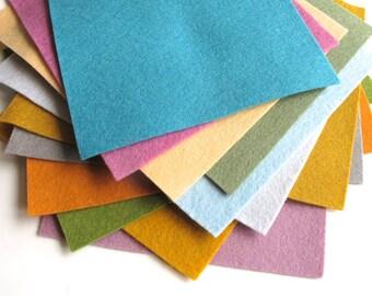 Felt Sheets, Dusty Tones, 100% Merino Wool, Twelve 6 x 8 Inch Sheets, Felt Assortment, DIY Kit, Wool Applique, Felt Set