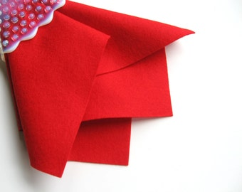 Red Wool Felt, 100% Wool, Choose Size, Wool Felt Sheet, Large Felt Square, Christmas Red, Poppy, Valentine, Nonwoven Fabric