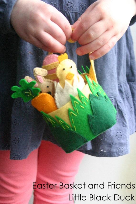Easter Basket, DIY Kit, Wool Felt Kit, Bunny, Spring Chick, Easter Egg, Carrot, Toddler Toy, Make It Yourself, Gift, Decoration
