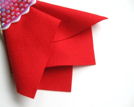 Red Wool Felt, 100% Wool, Choose Size, Wool Felt Sheet, Large Felt Square, Christmas Red, Poppy, Valentine, Nonwoven Fabric