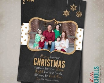 Chalkboard & Gold Glitter Christmas Card, Fancy Printable Holiday Photo Greeting Card #C105