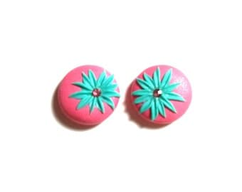 Pink and Blue Flower Studs