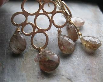 SALE Brown Rutilated Quartz and Matte Gold Bubble Earrings