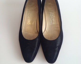 Vintage Black Suede Pumps / Sparkle Suede Shoes / Salvatore Ferragamo Shoes / size 8