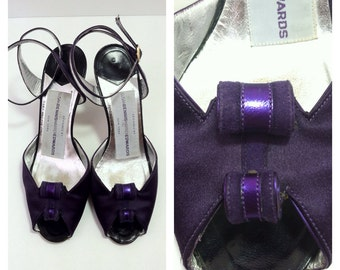 SALE Vintage Purple Sandals / Purple High Heels / Susan Bennis Warren Edwards / size 6 6.5