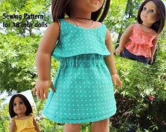 Summer Breeze Dress and Top - Doll Clothes Pattern for 18 inch Doll
