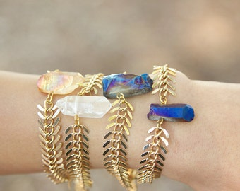 Crystal Quartz bracelets in 4 different color crystals- each one is one of a kind