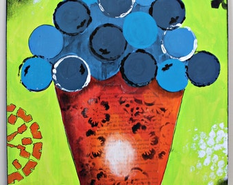 ORIGINAL Mixed Media BLUEBERRIES Painting by Slaphappy Studios! 12 x 16 inches