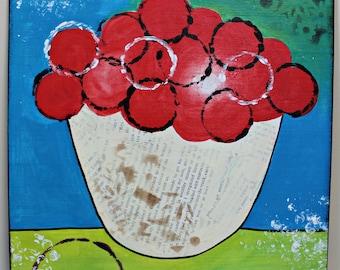 ORIGINAL Mixed Media CHERRY Painting by Slaphappy Studios! 12 x 12 Painting