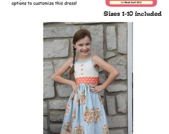 Too Cute Tank Dress PDF Sewing Pattern Sizes 1-10 Girls