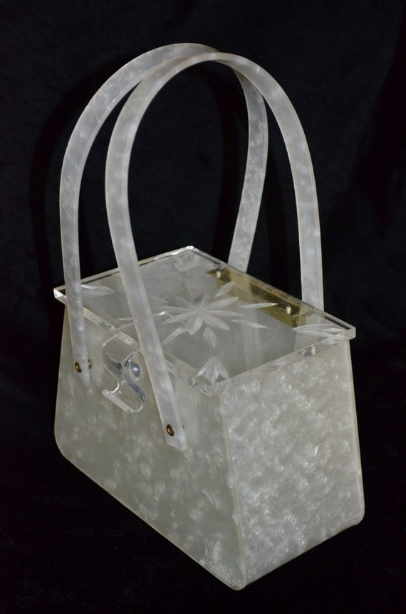 Lucite Box Purse White Pearl Marble Finish Clear Starburst