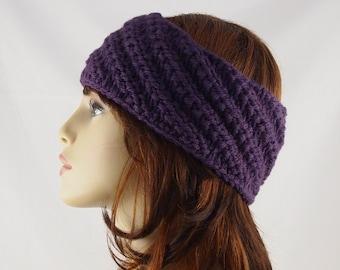 Hand Knit Ear Warmer Headband Eggplant Purple Wool