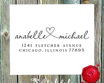 Return address   DIGITAL DOWNLOAD  modern design with heart  - style 9013W -  Digital File, Print Anywhere