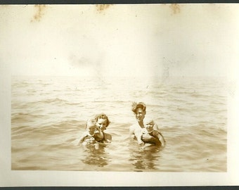 Vintage Photo Mom Dad And The Toddlers In Bathing Suits In Lake Antique Snapshot Photograph